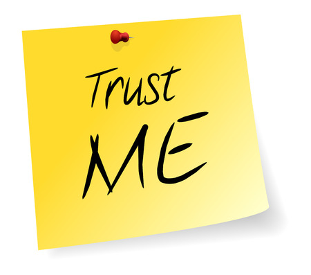 sticky note: Yellow Sticky Note With Trust Me Message