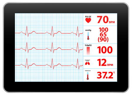 taking pulse: Modern Electrocardiogram Monitor Device Display Illustration