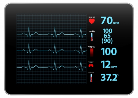 heart ecg trace: Modern Electrocardiogram Monitor Device Display Illustration
