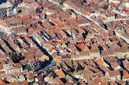 BRASOV, ROMANIA - NOVEMBER 02  Brasov Aerial View on November 02, 2013 in Brasov, Romania  It has been the place for annual markets since 1364 being visited by merchants from the country and abroad