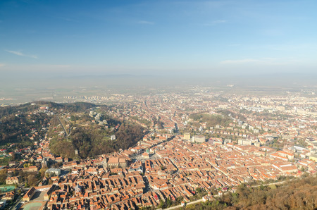 Aerial View Of Brasov City In The Carpathian Mountains Of Romania Stock Photo