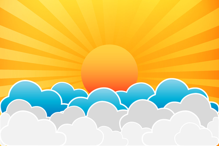 Sun And Clouds Vector Illustration Vector