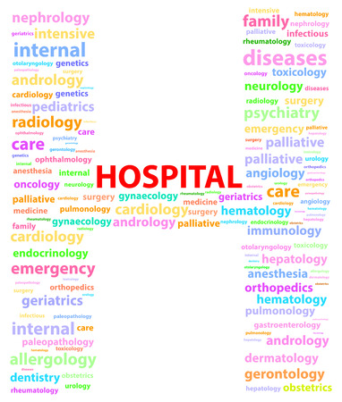 Hospital Sign With Medical Specialties Word Cloud Stock Vector - 23815838