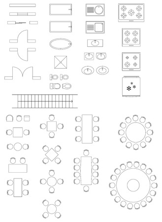 Standaard symbolen gebruikt in de architectuur Plannen Icons Set Stock Illustratie