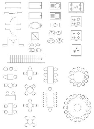 Standardowe symbole używane w Architektura plany Ikony Ustaw Ilustracje wektorowe