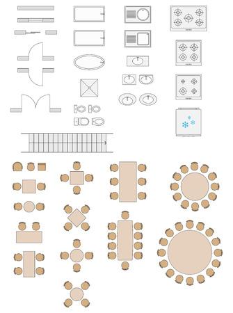 Standaard symbolen gebruikt in de architectuur Plannen Icons Set Vector Illustratie