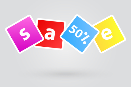 sale sign: Sale Sign Fifty Percent Promotional Discount Illustration