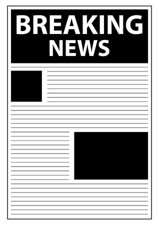 Breaking World News Newspaper First Page Template Stock Vector - 23884970