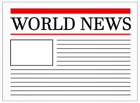 newspaper headline: World News Headline In Newspaper Vector Illustration