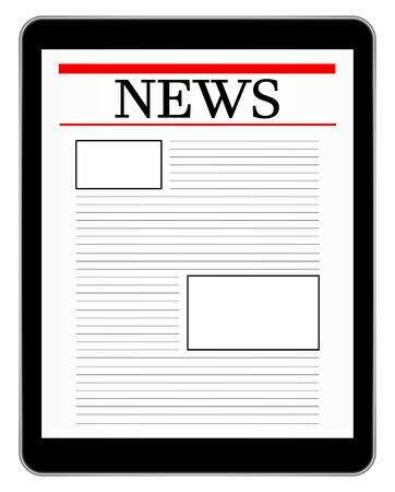Black Business Tablet Showing World News Vector