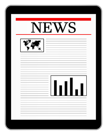 Black Business Tablet Showing World News Stock Vector - 23885918