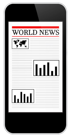 Black Business Mobile Phone Showing World News Vector