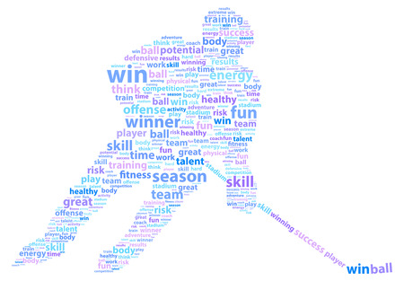 ice hockey player: Hockey Player Sports Word Cloud Illustration