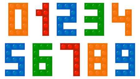 Children Building Blocks Numbers Font Vector