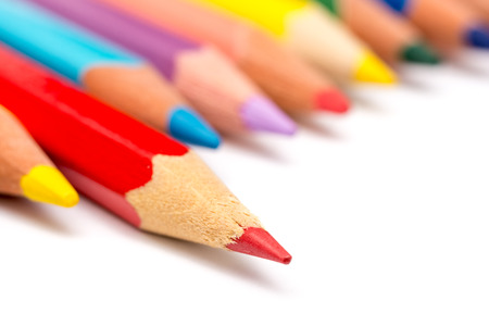 Red Coloring Pencil Different From The Crowd Stepping Up Stock Photo