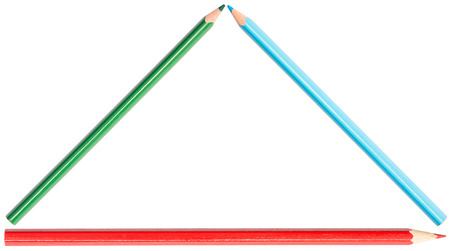 triangle shape: Coloring Pencils Triangle Shape Isolated On White Stock Photo