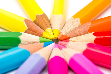 Coloring Pencils Arranged In Circle Stock Photo - 24315364