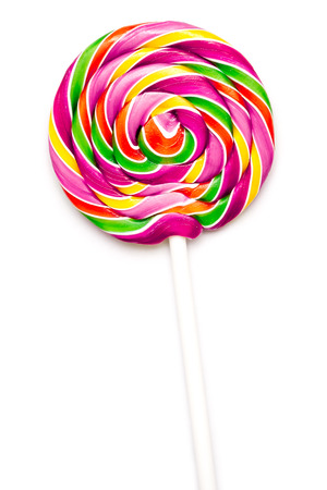 Sweet Vibrant Lollipop For Children On White Background photo