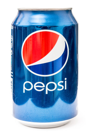 BUCHAREST, ROMANIA - DECEMBER 26, 2013  330ml Pepsi Bottle Can Isolated On White Background  Pepsi is a carbonated soft drink sold in stores, restaurants, and vending machines around the world