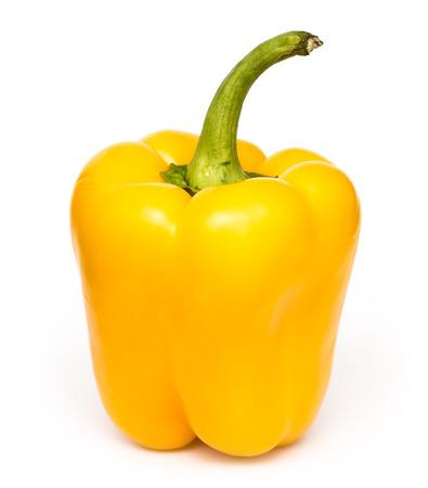 Yellow Fresh Capsicum On White Background Stock Photo