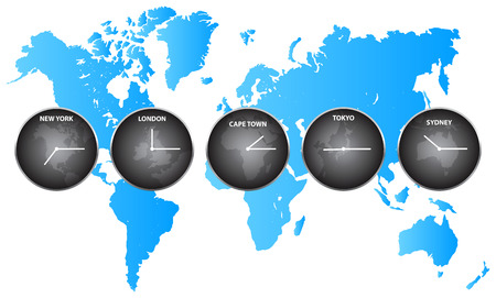 Time Zones Around The World Vector
