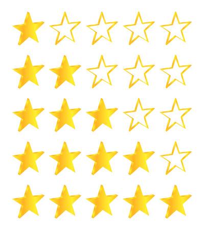 Five Stars Golden Stars Set Vector