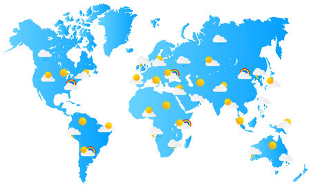 World Map Weather Forecast Vector Illustration Vector
