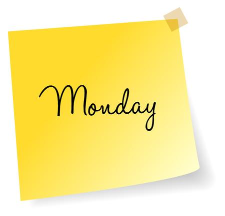 sticky note: Monday Yellow Sticky Note Vector Illustration