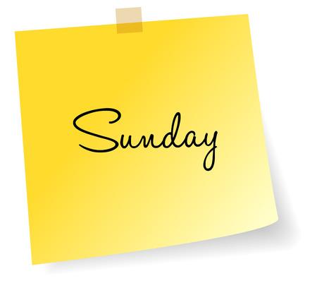 sticky note: Sunday Yellow Sticky Note Vector Illustration