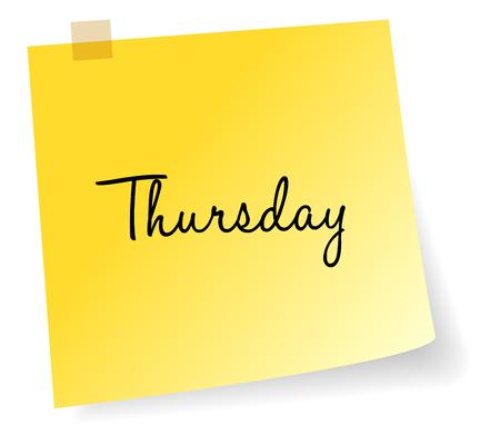sticky note: Thursday Yellow Sticky Note Vector Illustration
