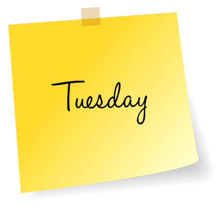 sticky note: Tuesday Yellow Sticky Note Vector Illustration