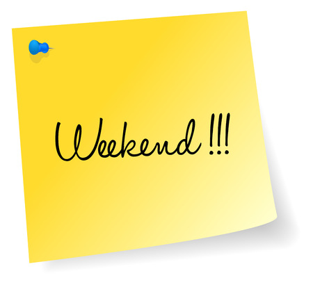 sticky note: Weekend Yellow Sticky Note Vector Illustration