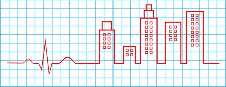 Electrocardiogram City Life Concept Stock Vector - 25041075
