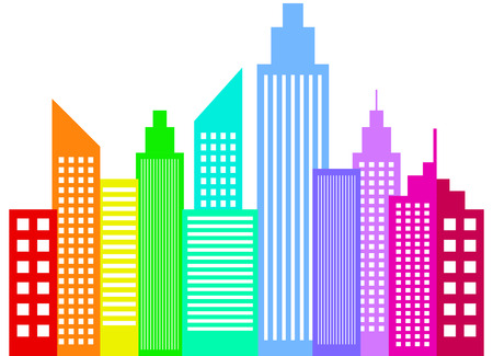 Rainbow Colored Modern City Skyscrapers Buildings Silhouettes Stock Vector - 25041083