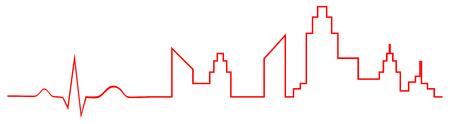 Electrocardiogram Indicate City Life Concept Stock Vector - 25041084