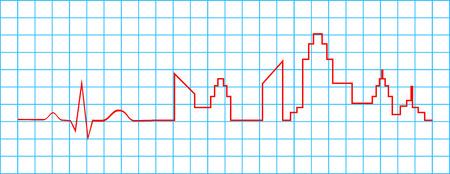 Electrocardiogram Indicate City Life Concept Stock Vector - 25041081