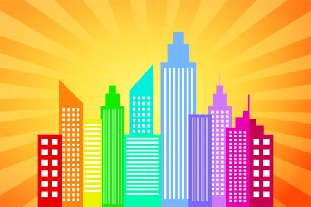 midtown: City Skyline With Sunset Rays Background Illustration