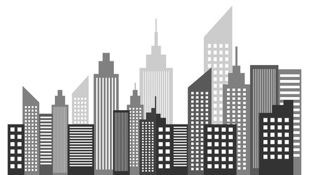 skyscraper: Modern Metropolis City Skyscrapers Skyline Vector Illustration