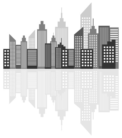 Modern Metropolis City Skyscrapers Skyline With Reflection Vector