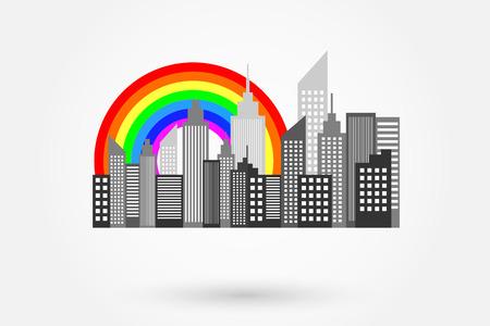 midtown: Modern City Skyscrapers Skyline With Rainbow Illustration