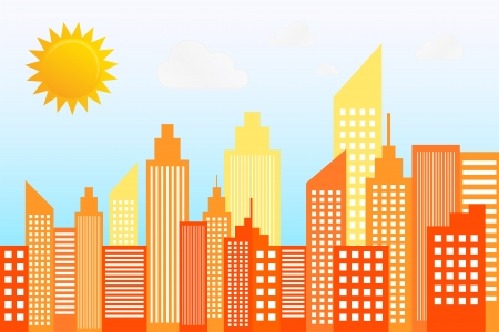 sunny day: La moderna ciudad de rascacielos en Sunny Day