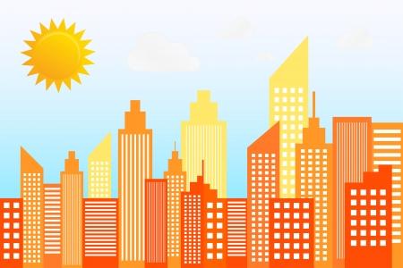 Modern City Skyscrapers Skyline On Sunny Day