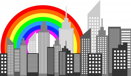 City Skyscrapers Skyline With Rainbow Vector