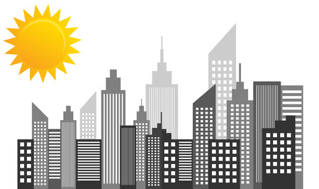 City Skyscrapers Skyline On Sunny Day Vector