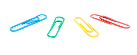 Assorted Paper Clips Isolated On White Stock Photo