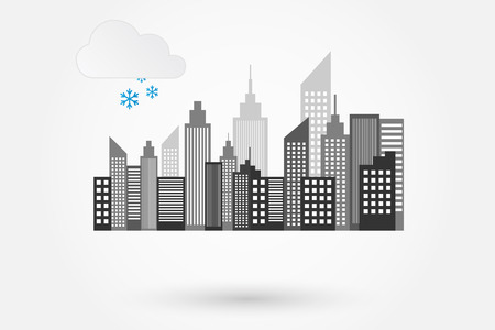 City Skyline On Winter Day Vector