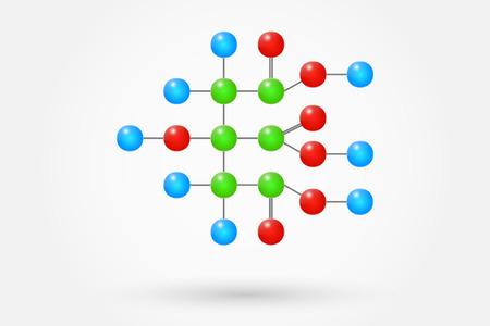 クエン酸分子化学式  イラスト・ベクター素材
