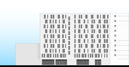 Hotel Building Facade Architectural Plan Vector