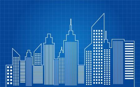 lijntekening: Wolkenkrabbers van de Stad Skyline Blauwdruk