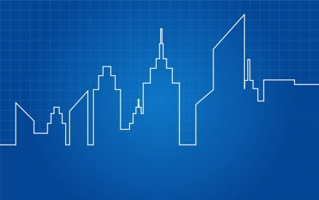City Skyscrapers Skyline Architectural Blueprint Illustration